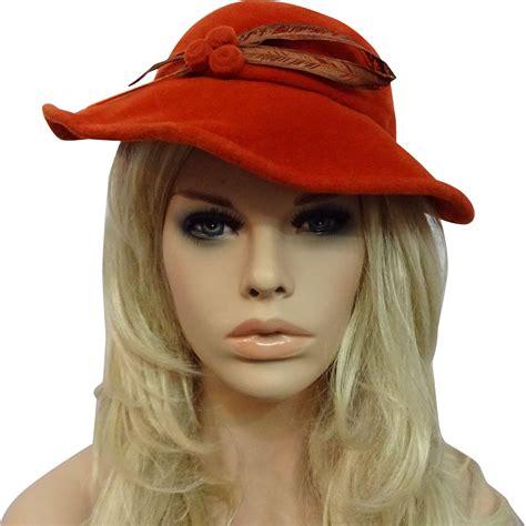 womens orange wool felt hat vintage 1940s feather great