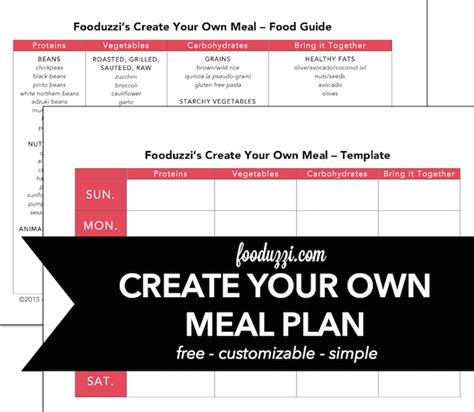 make your own dinner create your own meal plan fooduzzi