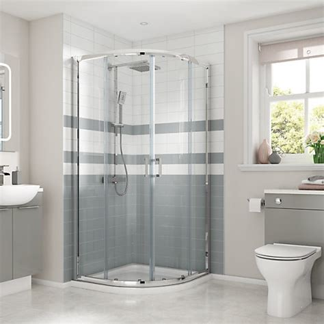 Wickes Shower Doors Wickes Quadrant Semi Frameless Sliding Shower Enclosure Chrome 900 X 900mm Wickes Co Uk