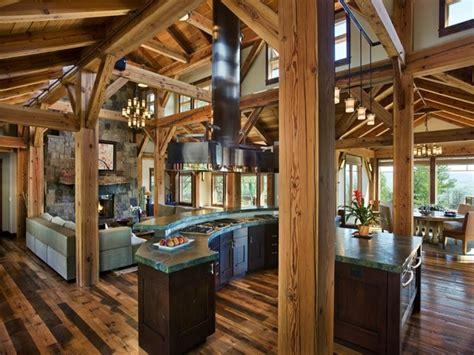 rustic living room kitchen open floor plans shabby chic