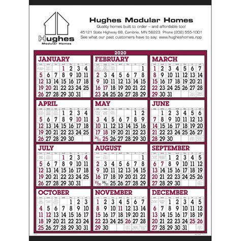 burgundywhite big numbers span  year calendar  custom wall calendars
