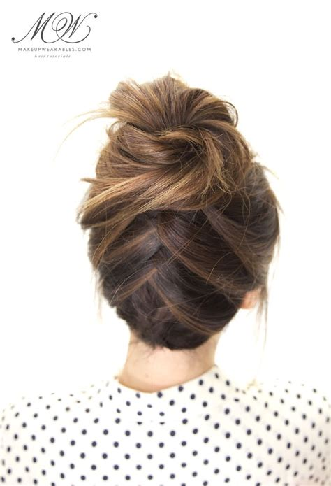 everyday bun hairstyles tuxedo braid bun hairstyle cute everyday hairstyles for