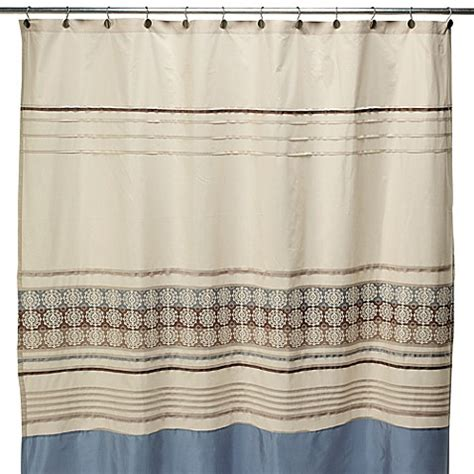 shower curtains brown and blue lyon blue and brown fabric shower curtain bed bath beyond
