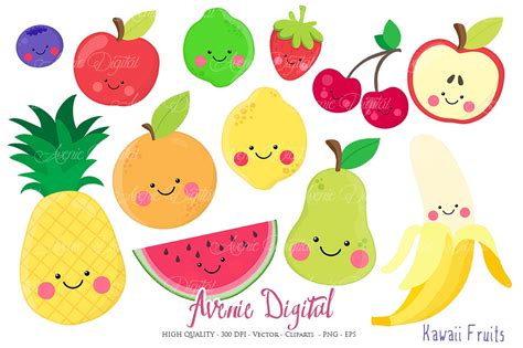 clipart frutta kawaii fruits clipart vectors illustrations creative