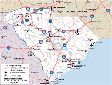 show me a map of carolina map of south carolina commercial airports