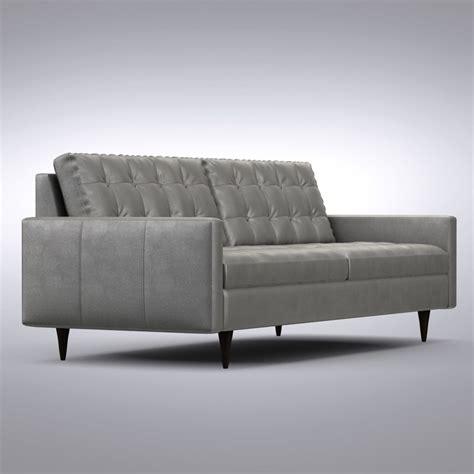 petrie leather sofa 3d crate barrel petrie model