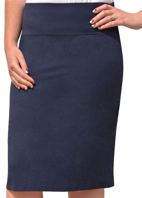 navy stretch cotton pencil skirt modli