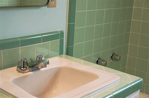 retro green bathroom laura s green b w tile bathroom remodel in progress