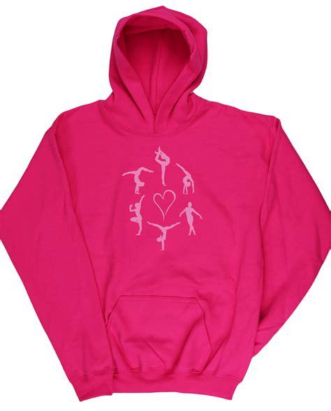 Hoodie Unisex Pink Berkualitas 1 gymnastics silhouettes pink glitter unisex hoodie