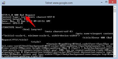 telnet with telnet with bad request 400 stack overflow