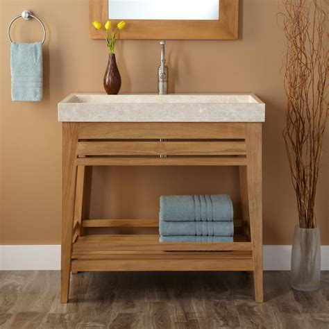 Narrow Floor Plans by Natural Polished Teak Wood Small Bathroom Vanity With Open