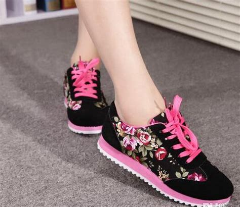 jual sepatu kets wanita casual motif bunga sds101 sepatu kets bunga murah bedak shop