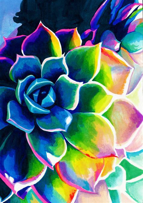 supplication succulent colorful rainbow spiritual vivid neon