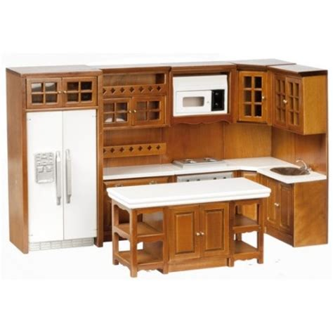 dollhouse furniture kitchen kitchen set 8 walnut cb dollhouse kitchen sets