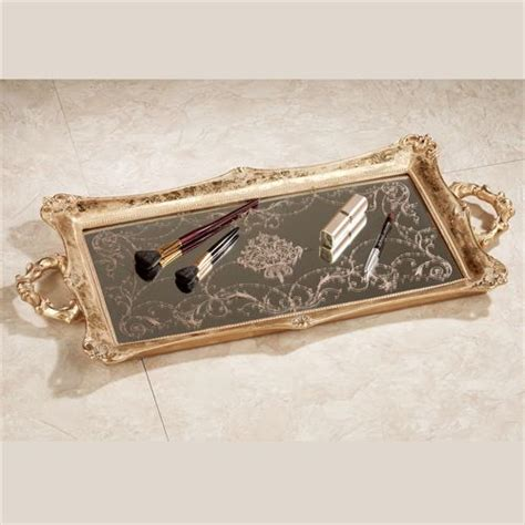 mirrored bathroom tray letitia gold finish mirrored vanity tray