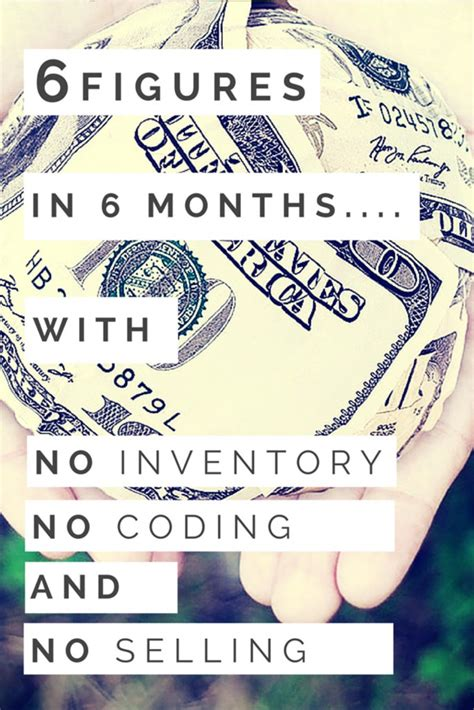 No Selling 6 figures in 6 months with no inventory no coding