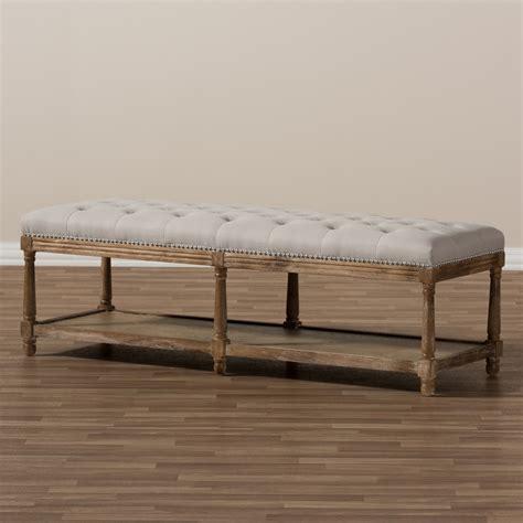 padded ottoman bench baxton studio celeste french country weathered oak beige