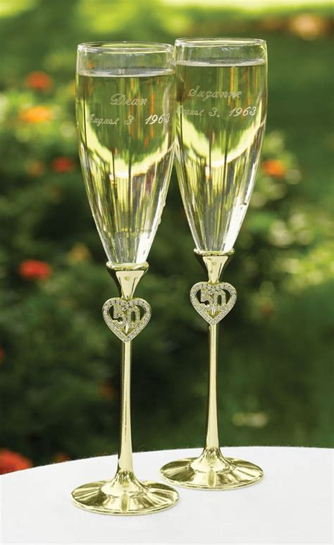 Jeweled 50th Gold Wedding Anniversary Champagne Flutes