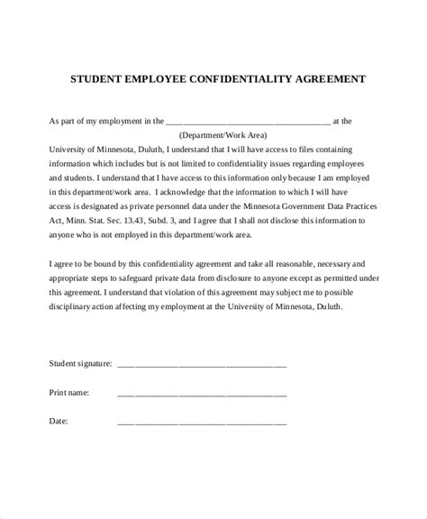 11 Sle Confidentiality Agreement Forms Sle Templates Employee Confidentiality Agreement Template