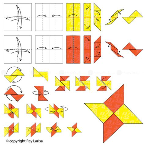 How To Fold A Paper Shuriken - animated origami how to make origami