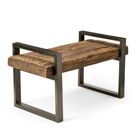 rustic wood and iron bench so that s cool