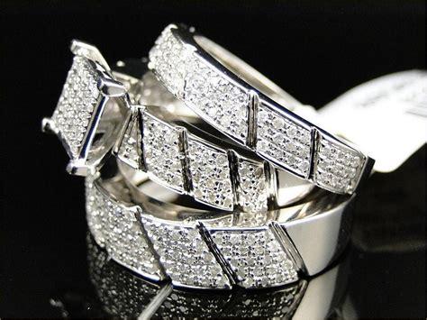 2 1 4 ct diamond trio set 10k white gold women engagement