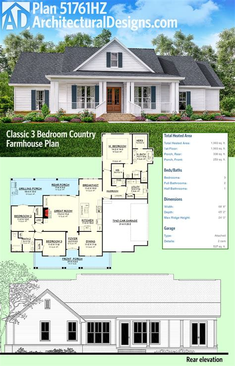 farmhouse plan plan 51761hz classic 3 bed country farmhouse plan an