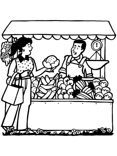 picture of healthy fruit and vegetables coloring page