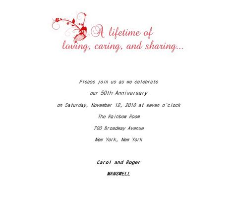 50th anniversary invitation wording 50th wedding anniversary invitations 5 wording free