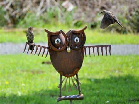 backyard owls owl yard art made from 2 old rakes shovel head