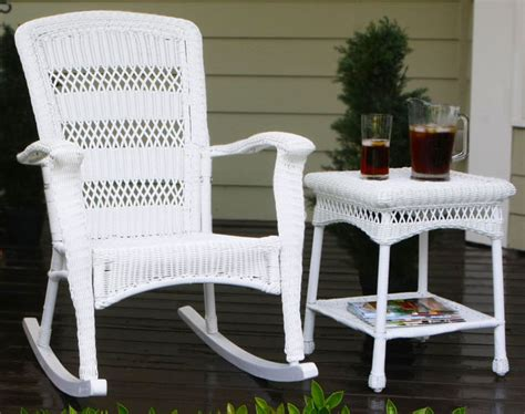 White Outdoor Wicker Furniture plantation coastal white wicker outdoor rocking chair
