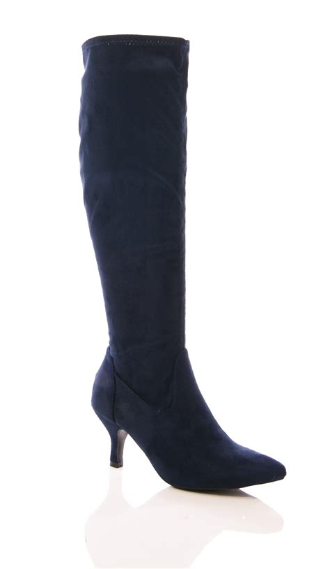 womens stretch boots kitten heel pointy elastic