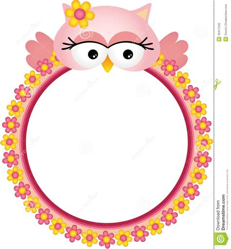 Decorative Owls owl with flower frame stock vector image 49477545
