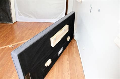 how to mount a headboard with space for curtains bright