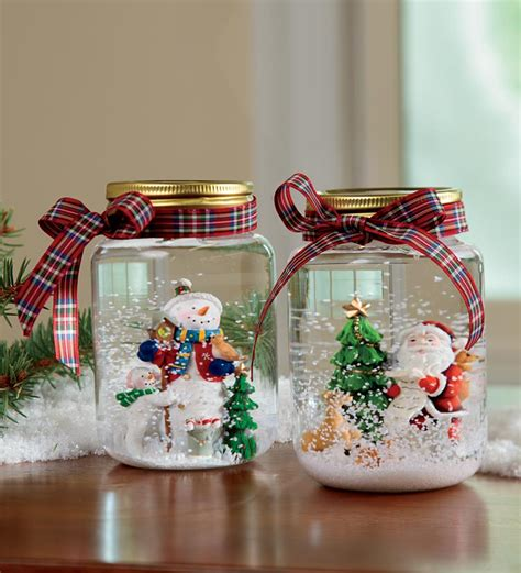 diy decorations snow globe decorations accessories snowman and santa glitter lovely