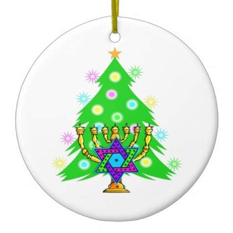 chanukkah and christmas christmas tree ornament
