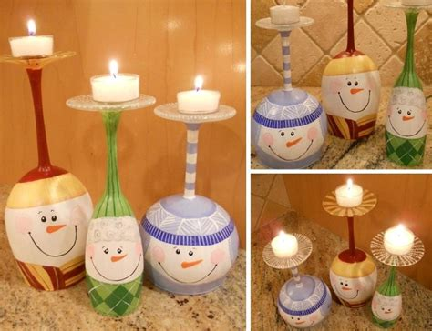 snowman glass wine candle holders praktic ideas find fun