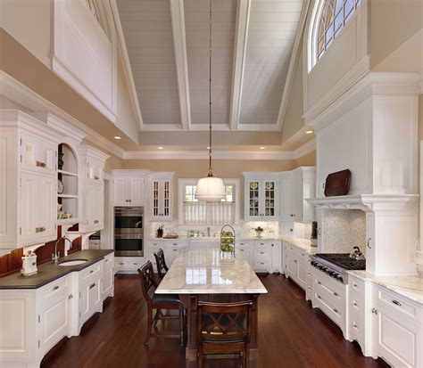 raised ceiling vaulted ceiling decorating kitchen traditional with white