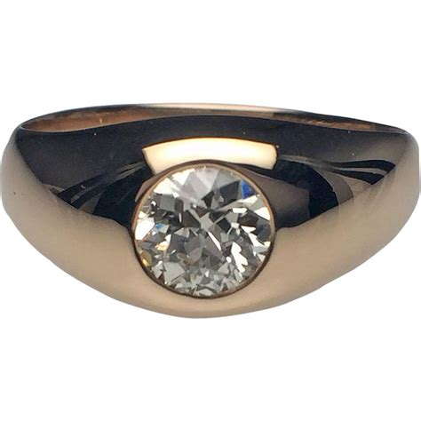 14 Karat Yellow Gold Mens Diamond Gypsy Set Ring from lippas estate and fine jewelry on Ruby Lane