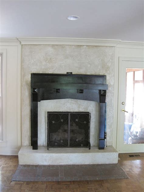 fireplace with faux limestone by tucker