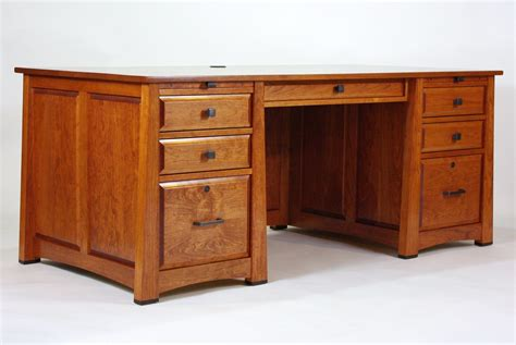hand made executive desk in cherry with ebony accents by