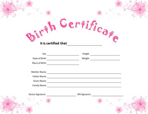 birth certificate template for girl