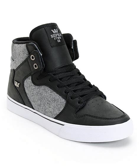 supra vaider black leather grey wool skate shoes at