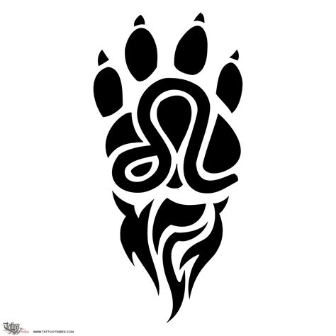 lion paw tattoo of sign zodiac custom