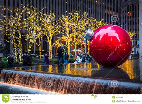 giant christmas bauble on new york editorial photo image