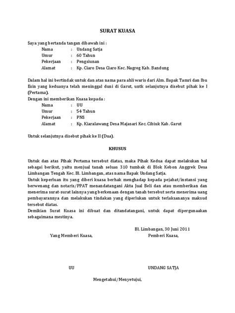 contoh surat kuasa jual rumah warisan wisata dan info sumbar