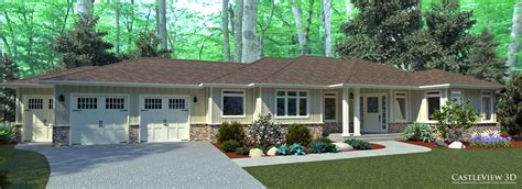 Custom House Design by Exterior Architectural Renderings From Castleview3d Com