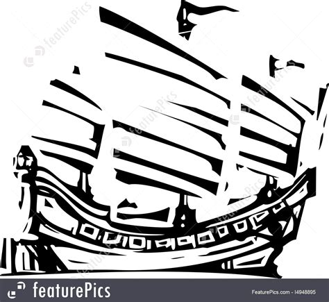 how to draw a chinese junk boat woodcut chinese junk stock illustration i4948895 at