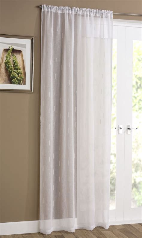 Denver Embroidered Sheer Curtain Panel Ready Made Slot Top