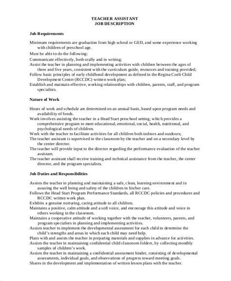 Resume Teaching Assistant Description permanaet substitute exle description for